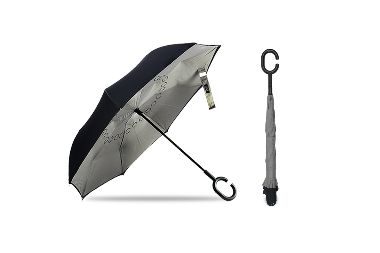"Inverted Umbrella 23"" Black/Grey"