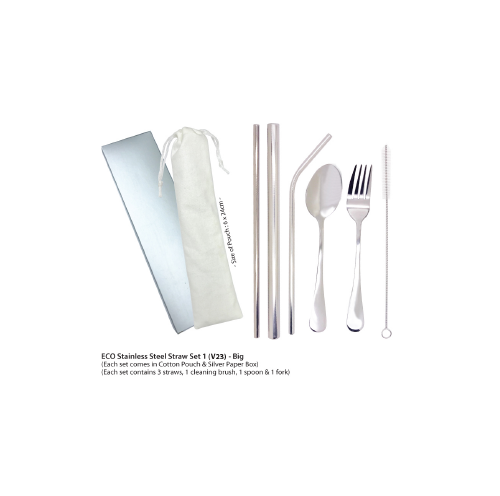 6 in 1 Stainless Steel Cutlery & Straw Set